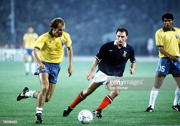 World Cup Finals Turin Italy 20th June Brazil 1 v Scotland 0 Brazil's Alemao on the ball watched by Scotland's Maurice Malpas