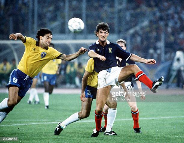 World Cup Finals Turin Italy 20th June Brazil 1 v Scotland 0 Scotland's Dave McPherson is put under pressure by Brazil's Careca as they go for the...
