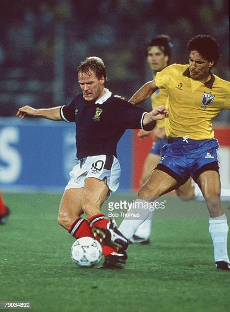 World Cup Finals Turin Italy 20th June Brazil 1 v Scotland 0 Scotland's Murdo MacLeod is challenged for the ball by Brazil's Careca