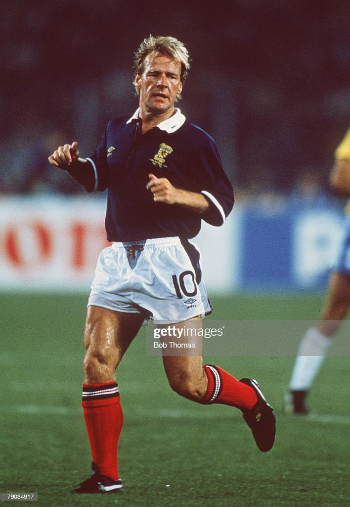 1990 World Cup Finals. Turin, Italy. 20th June, 1990. Brazil 1 v Scotland 0. Scotland's Murdo MacLeod. : News Photo