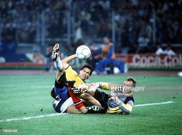 World Cup Finals Turin Italy 20th June Brazil 1 v Scotland 0 Scottish goalkeeper Jim Leighton fails to a hold a shot by Brazilian striker Careca The...