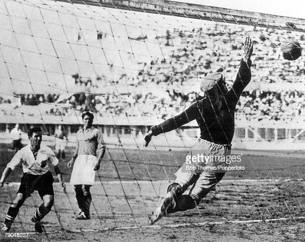 World Cup Finals Turin Italy 27th May Austria 3 v France 2 French goalkeeper Thepot is unable to prevent Austria's winning goal scored by Bican