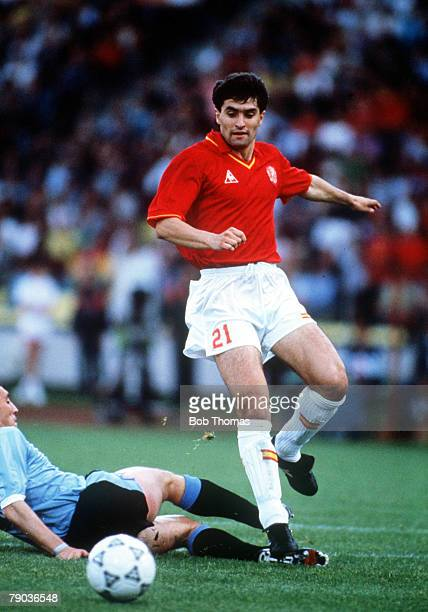 World Cup Finals Udine Italy 13th June Spain 0 v Uruguay 0 Spain's Michel on the ball