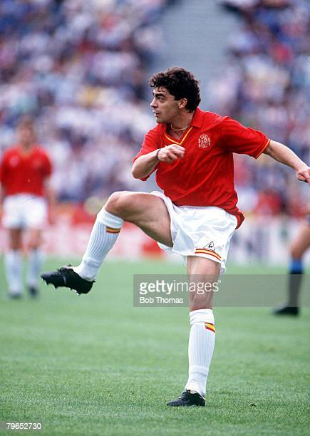 World Cup Finals Udine Italy 13th June Spain 0 v Uruguay 0 Spain's Manuel Sanchis