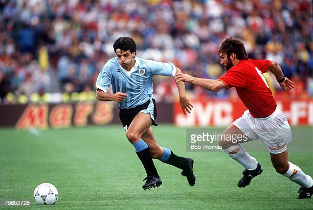 World Cup Finals Udine Italy 13th June Spain 0 v Uruguay 0 Uruguay's Jose Herrera moves away with the ball past Spain's Martin Vazquez