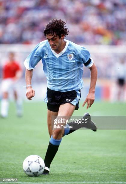 World Cup Finals Udine Italy 13th June Spain 0 v Uruguay 0 Uruguay's Enzo Francescoli on the ball