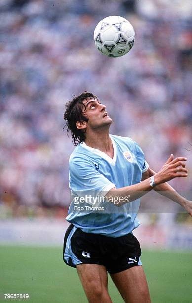 World Cup Finals Udine Italy 13th June Spain 0 v Uruguay 0 Uruguay's Enzo Francescoli with the ball