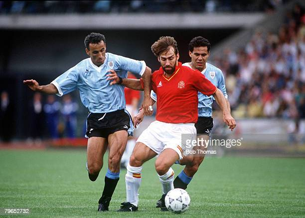World Cup Finals Udine Italy 13th June Spain 0 v Uruguay 0 Uruguays's Jose Alzamendi challenges Spain's Martin Vazquez for the ball