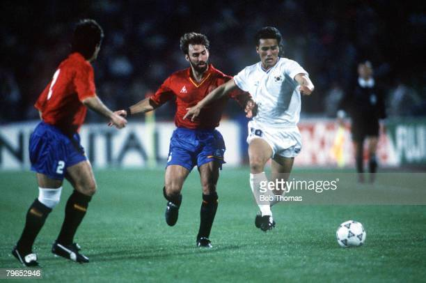 World Cup Finals Udine Italy 17th June Spain 3 v South Korea 1 South Korea's Kim Joo Sung is challenged for the ball by Spain's Martin Vazquez