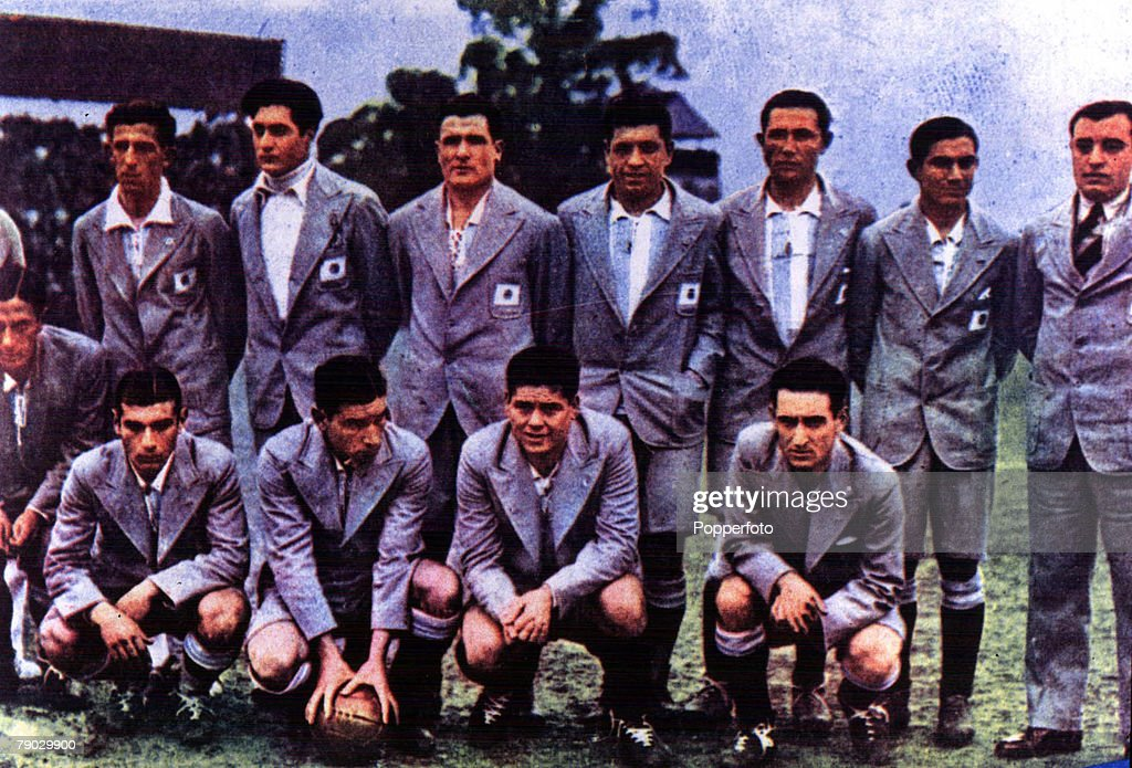 World Cup Finals, 1930, Uruguay. Argentina 1 v France 1. The Argentina team pose for a team group. : News Photo