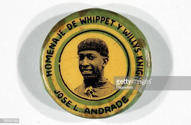World Cup Finals Uruguay Early souvenir button badge of Uruguay's Jose Leonardo Andrade to advertise a garage