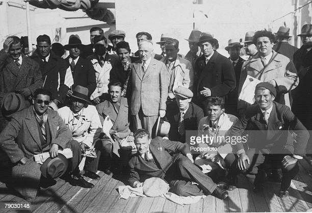World Cup Finals Uruguay Montevideo FIFA President Jules Rimet with Yugoslavian team members on board a ship in Montevideo