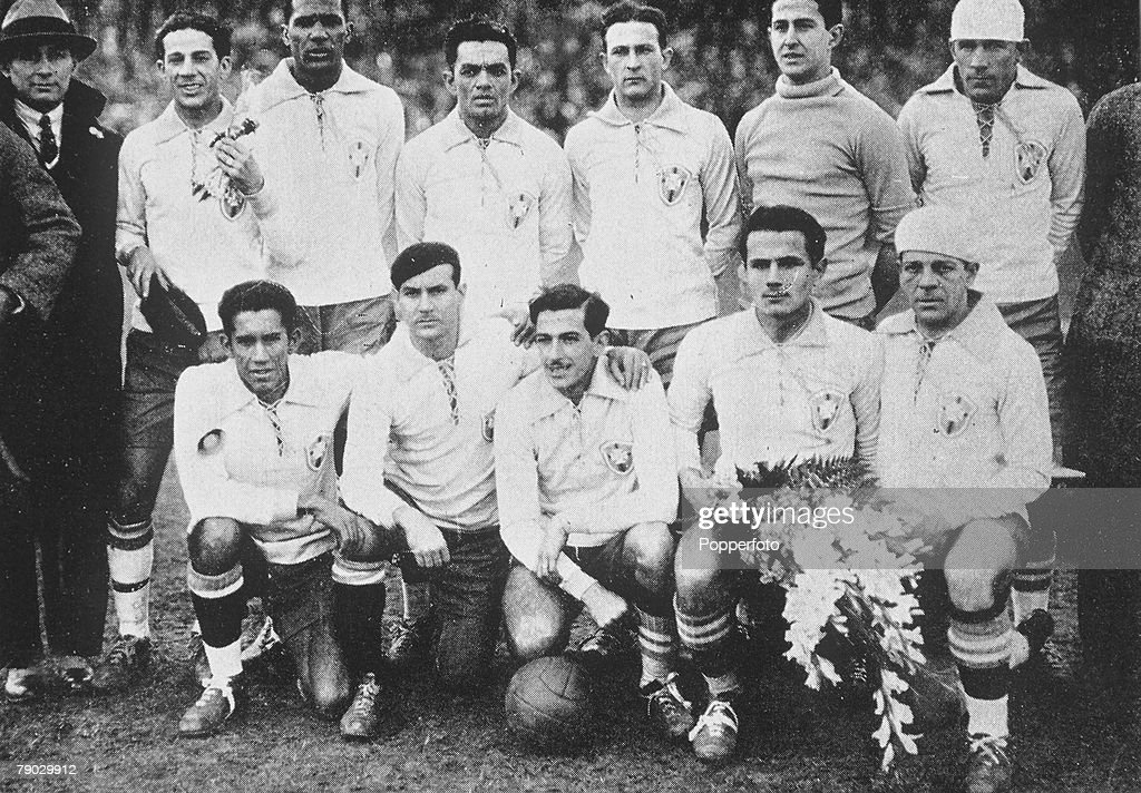 1930 World Cup Finals. Uruguay. Yugoslavia 2 v Brazil 1. The Brazil team (the first to compete in the World Cup) line up before their first World Cup game. : News Photo
