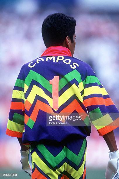 World Cup Finals USA Mexican goalkeeper Jorge Campos wears one of his trademark bright colourful jerseys during a World Cup match