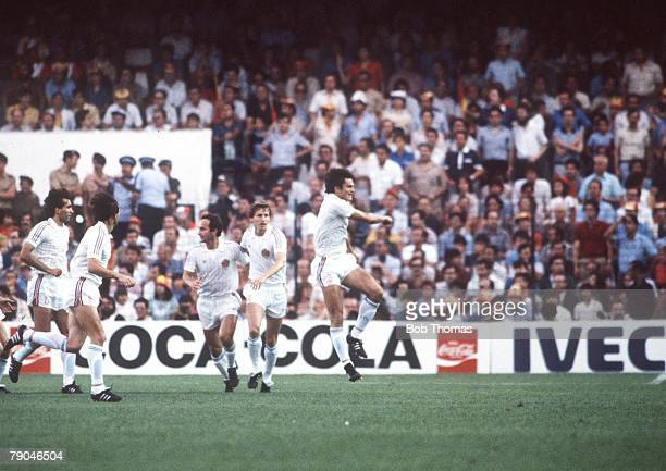 World Cup Finals Valencia Spain 20th June Spain 2 v Yugoslavia 1 Yugoslavia's Ivan Gudelj celebrates Yugoslavia's goal