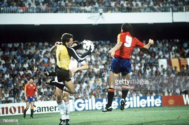 World Cup Finals Valencia Spain 20th June Spain 2 v Yugoslavia 1 Yugoslavia's Dragan Pantelic gathers the ball from Spain's Jesus Satrustegui