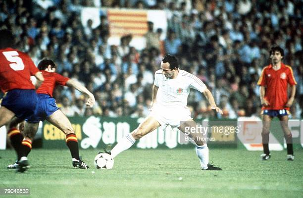 World Cup Finals Valencia Spain 20th June Spain 2 v Yugoslavia 1 Yugoslavia's Edhem Sljivo is challenged by Spain's Miguel Alonso