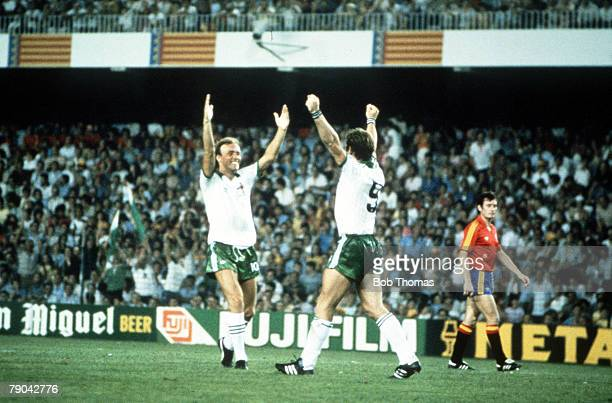 World Cup Finals Valencia Spain 25th June Spain 0 v Northern Ireland 1 Northern Ireland's Gerry Armstrong celebrates his goal with teammate Sammy...