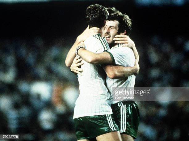 World Cup Finals Valencia Spain 25th June Spain 0 v Northern Ireland 1 Northern Ireland's Gerry Armstrong is congratulated after scoring the only...