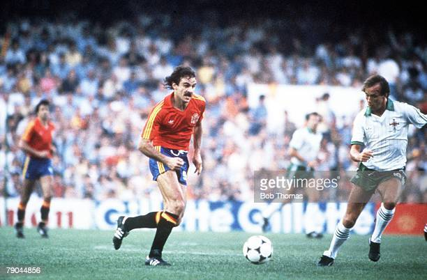 World Cup Finals Valencia Spain 25th June Spain 0 v Northern Ireland 1 Spain's Jesus Satrustegui is faced by Northern Ireland's Sammy McIlroy
