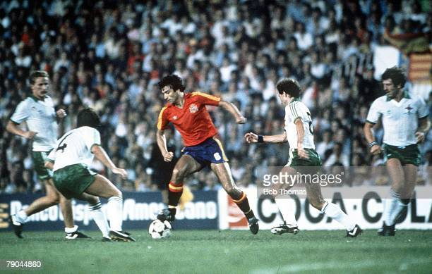 World Cup Finals Valencia Spain 25th June Spain 0 v Northern Ireland 1 Spain's Jose Alesanco is surrounded by Northern Ireland's Billy Hamilton David...
