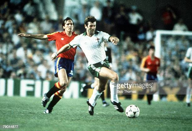 World Cup Finals Valencia Spain 25th June Spain 0 v Northern Ireland 1 Northern Ireland's Gerry Armstrong is chased by Spain's Jose Vincente Sanchez