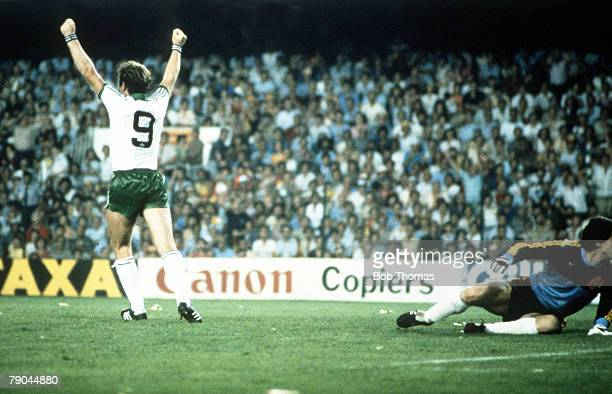 World Cup Finals Valencia Spain 25th June Spain 0 v Northern Ireland 1 Northern Ireland's Gerry Armstrong celebrates after scoring the only goal of...