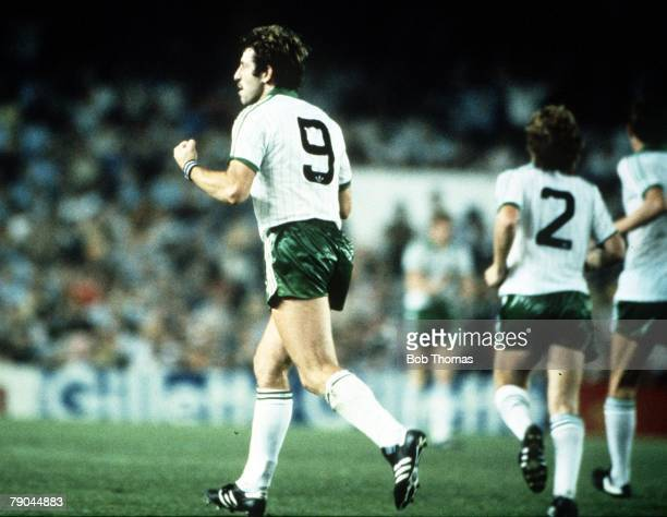 World Cup Finals Valencia Spain 25th June Spain 0 v Northern Ireland 1 Northern Ireland's Gerry Armstrong celebrates after scoring his goal
