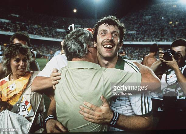 World Cup Finals Valencia Spain 25th June Spain 0 v Northern Ireland 1 Northern Ireland's goalscorer Gerry Armstrong celebrates victory with manager...