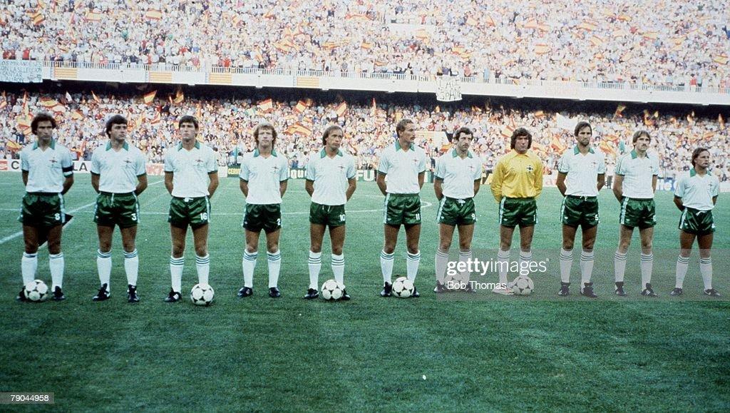 1982 World Cup Finals. Valencia, Spain. 25th June, 1982. Spain 0 v Northern Ireland 1. Northern Ireland team line-up. : News Photo