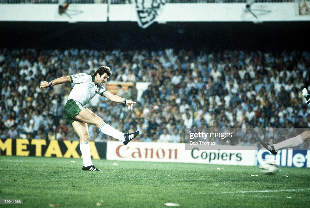 1982 World Cup Finals. Valencia, Spain. 25th June, 1982. Spain 0 v Northern Ireland 1. Northern Ireland's Gerry Armstrong fires the ball past Spanish goalkeeper Luis Arconada to score the only goal of the game. : News Photo