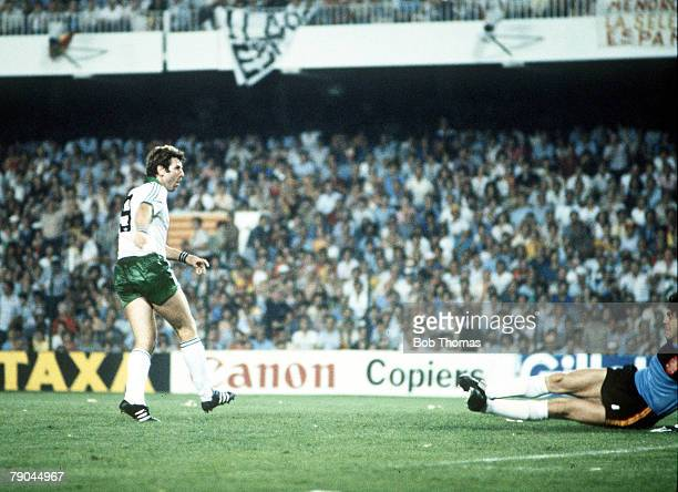 World Cup Finals Valencia Spain 25th June Spain 0 v Northern Ireland 1 Northern Ireland's Gerry Armstrong fires the ball past Spanish goalkeeper Luis...