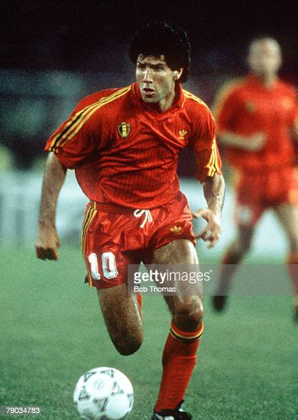 World Cup Finals Verona Italy 17th June Belgium 3 v Uruguay 1 Belgium's Enzo Scifo on the ball
