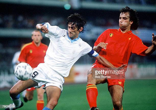 World Cup Finals Verona Italy 17th June Belgium 3 v Uruguay 1 Uruguay's Enzo Francescoli challenged by Belgium's Stephane Demol