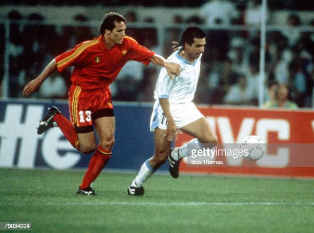 World Cup Finals Verona Italy 17th June Belgium 3 v Uruguay 1 Uruguay's Ruben Sosa is challenged for the ball by Belgium's Georges Grun