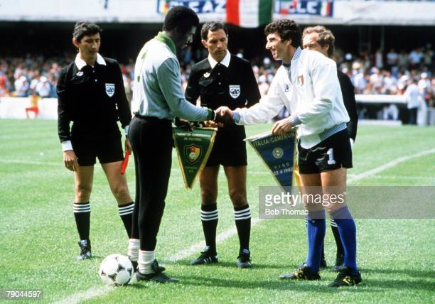 World Cup Finals Vigo Spain 23rd June 1982 Italy 1 v Cameroon 1 Italian goalkeeper and captain Dino Zoff exchanges pennants with Cameroon goalkeeper...