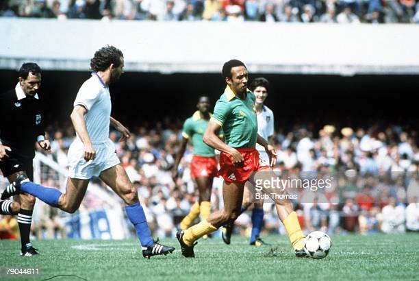 World Cup Finals Vigo Spain 23rd June 1982 Italy 1 v Cameroon 1 Italy's Antonio Cabrini is beaten by Cameroon's Jean Pierre Tokoto