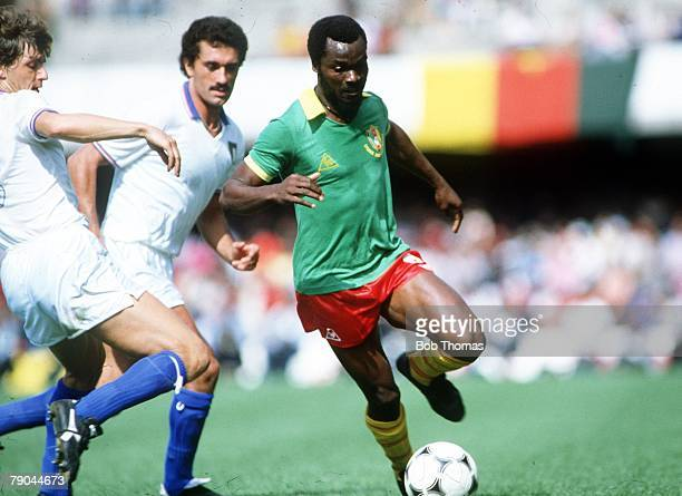 World Cup Finals Vigo Spain 23rd June 1982 Italy 1 v Cameroon 1 Italy's Giancarlo Antognoni is beaten by Cameroon's Roger Milla