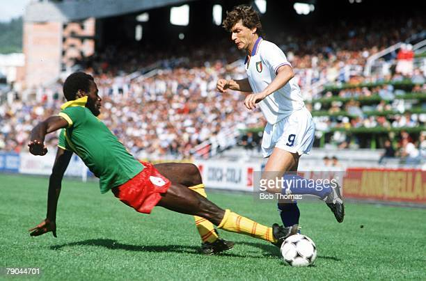 World Cup Finals Vigo Spain 23rd June 1982 Italy 1 v Cameroon 1 Italy's Giancarlo Antognoni is tackled by Cameroon's Emmanuel Kunde
