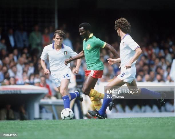 World Cup Finals Vigo Spain 23rd June 1982 Italy 1 v Cameroon 1 Italy's Marco Tardelli Fulvio Collovati with Cameroon's Roger Milla