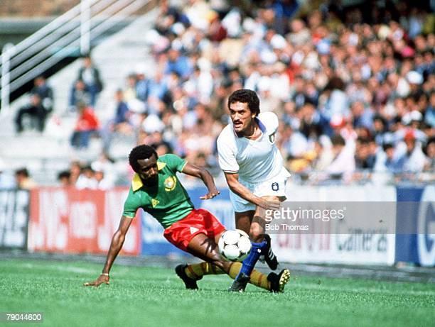 World Cup Finals Vigo Spain 23rd June 1982 Italy 1 v Cameroon 1 Italy's Claudio Gentile moves past a Cameroon defender
