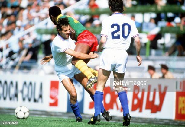 World Cup Finals Vigo Spain 23rd June 1982 Italy 1 v Cameroon 1 Italy's Antonio Cabrini collides with Cameroon's Theophile Abega
