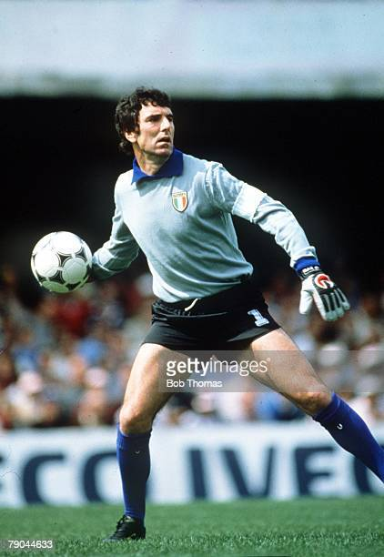 World Cup Finals Vigo Spain 23rd June 1982 Italy 1 v Cameroon 1 Italy's goalkeeper Dino Zoff throws the ball out during the match