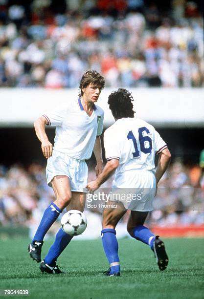 World Cup Finals Vigo Spain 23rd June 1982 Italy 1 v Cameroon 1 Italy's Giancarlo Antognoni
