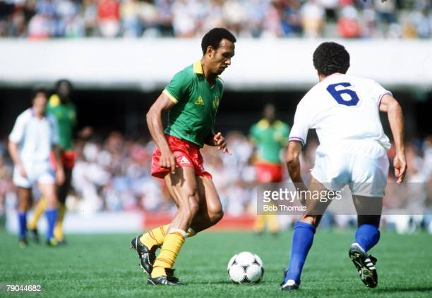 World Cup Finals Vigo Spain 23rd June 1982 Italy 1 v Cameroon 1 Italy's Claudio Gentile moves in to challenge Cameroon's JeanPierre Tokoto