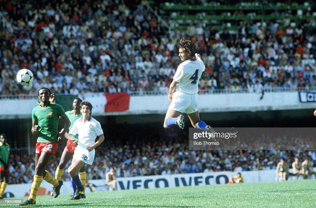 1982 World Cup Finals. Vigo, Spain. 23rd June, 1982 Italy 1 v Cameroon 1. Italy's Antoni Cabrini heads the ball toward the Cameroon goal : News Photo