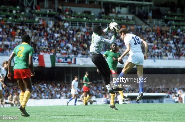 World Cup Finals Vigo Spain 23rd June 1982 Italy 1 v Cameroon 1 Italy's Francesco Graziani with Cameroon's goalkeeper Thomas Nkono