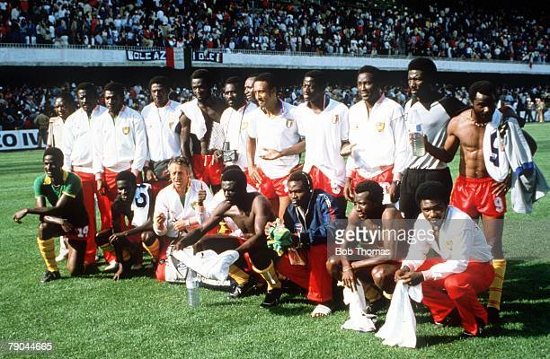 World Cup Finals Vigo Spain 23rd June 1982 Italy 1 v Cameroon 1 The Cameroon team line up for a group photo after remaining undefeated in their group...