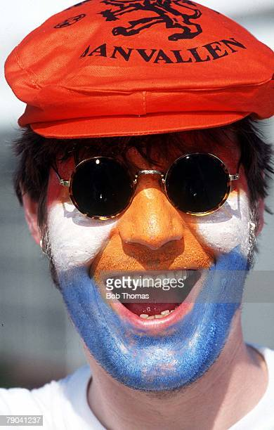 World Cup Finals Washington USA 20th June 1994 Holland 2 v Saudi Arabia 1 Colourful Holland fan wearing face paint and round sunglasses