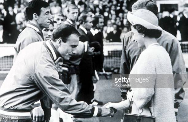 World Cup Finals Wembley England 11th July 1966 England 0 v Uruguay 0 England's George Cohen meets Her Majesty Queen Elizabeth II before the...
